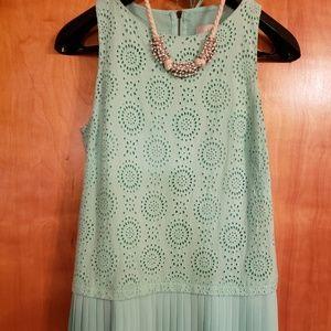 Anne Taylor Loft pastel green eyelet dress 6 P